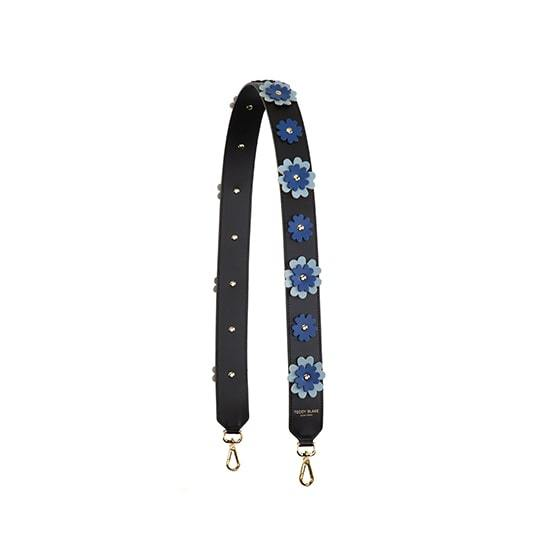 Flower Leather Strap Gold - Navy Blue