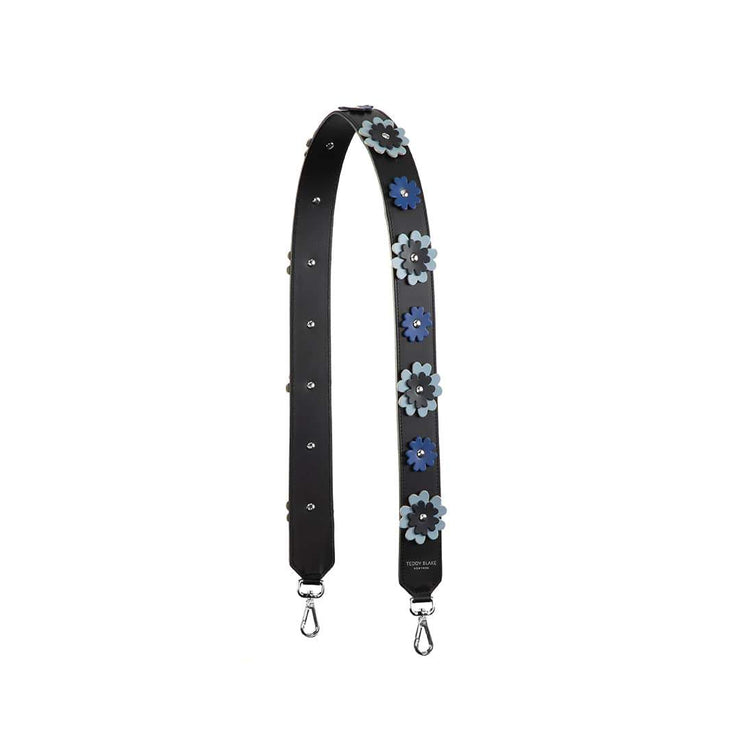 Flower Leather Strap Silver - Navy Blue