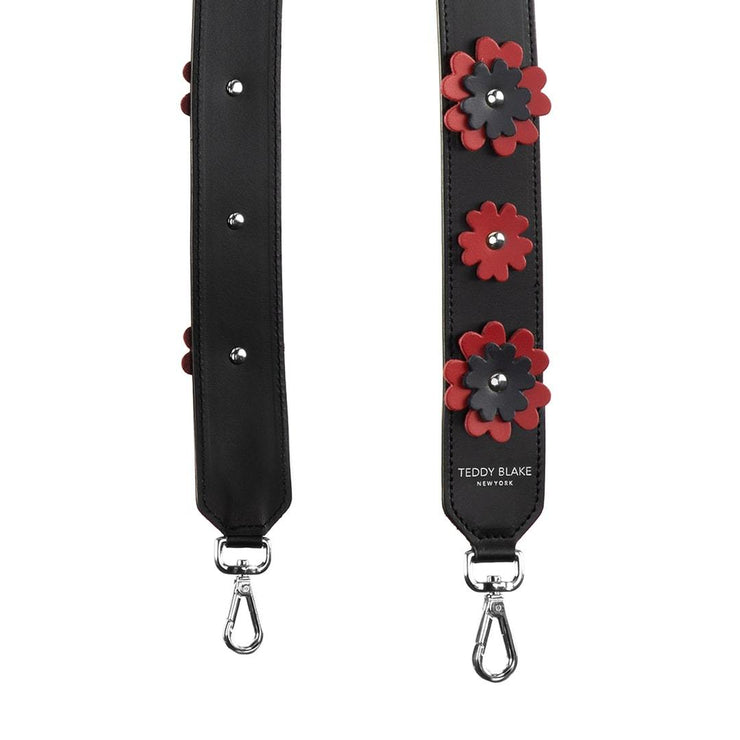 Flower Leather Strap Silver - Red