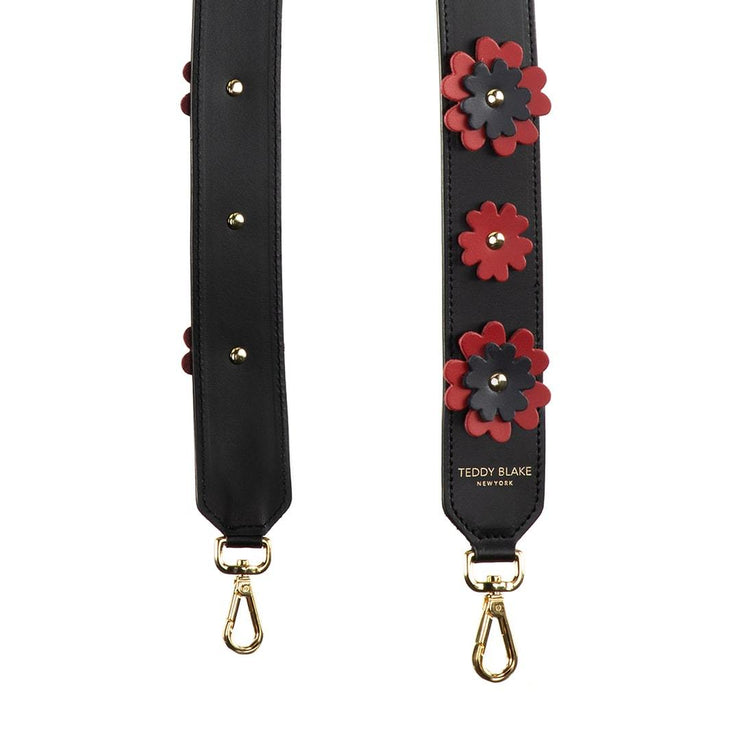 Flower Leather Strap Gold - Red
