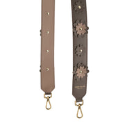 Flower Leather Strap Gold - Dark Beige