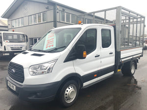 FORD TRANSIT CREW CAB DROPSIDE WITH LITTER CAGE EURO 6