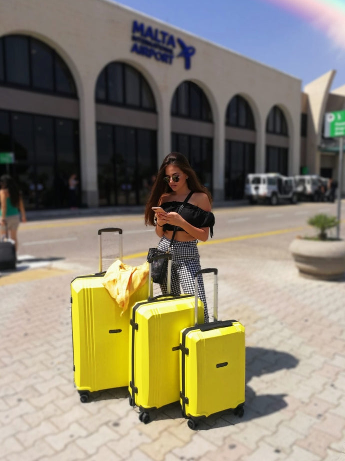 Gaia Cauchi seen with her EPIC Airwave Luggage Collection