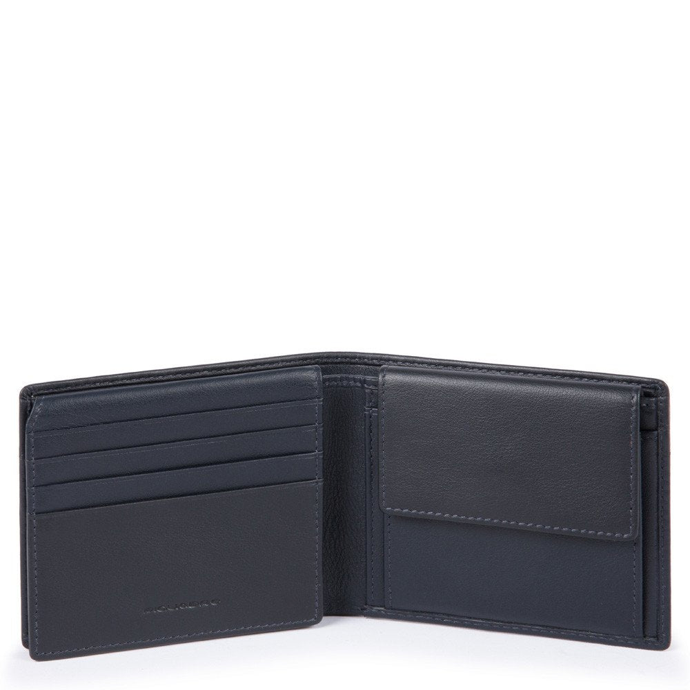 Men's wallet with flip up ID window, coin pocket, credit card slots and RFID anti-fraud