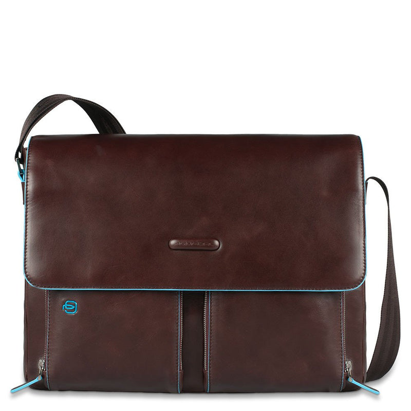 Flap-over computer messenger bag with Blue Square
