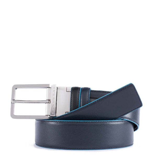 Reversible men's belt with prong buckle Blue Square