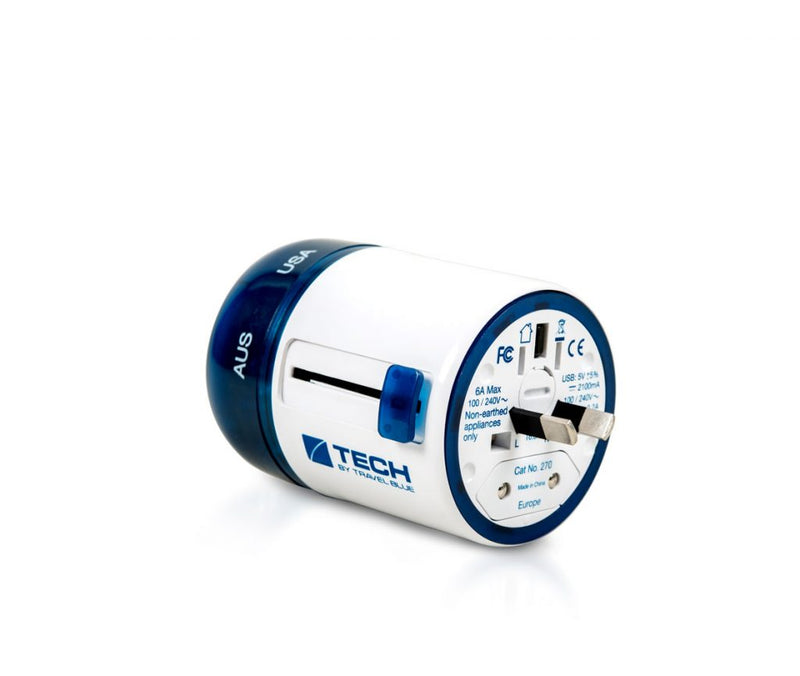 Twist & Slide Worldwide Travel Adaptor With Dual USB - Europe Edition