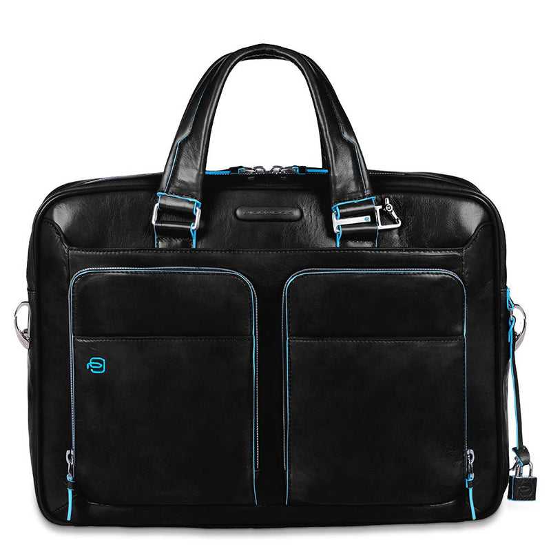 Portfolio computer briefcase with iPad compartment and organised U-zip front pockets Blue Square