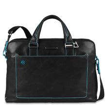 Load image into Gallery viewer, Double handle computer portfolio briefcase Blue Square