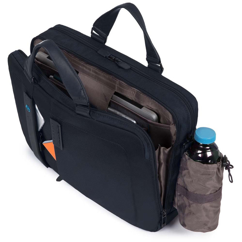 Computer portfolio briefcase with iPad® compartment pocket for bottle or umbrella