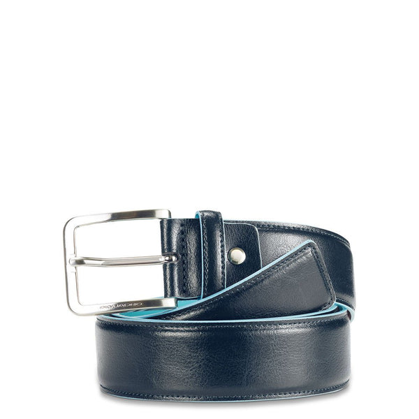 Men's belt with prong buckle, light blue contrasting inside and edges Blue Square