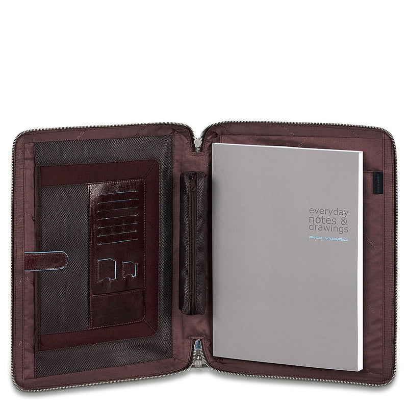 Leather notepad holder,A4 format, stowaway handles, shoulder strap and iPad®/iPad®Air compartment Stationery