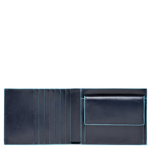 Men's wallet with coin case and credit card slots Blue Square