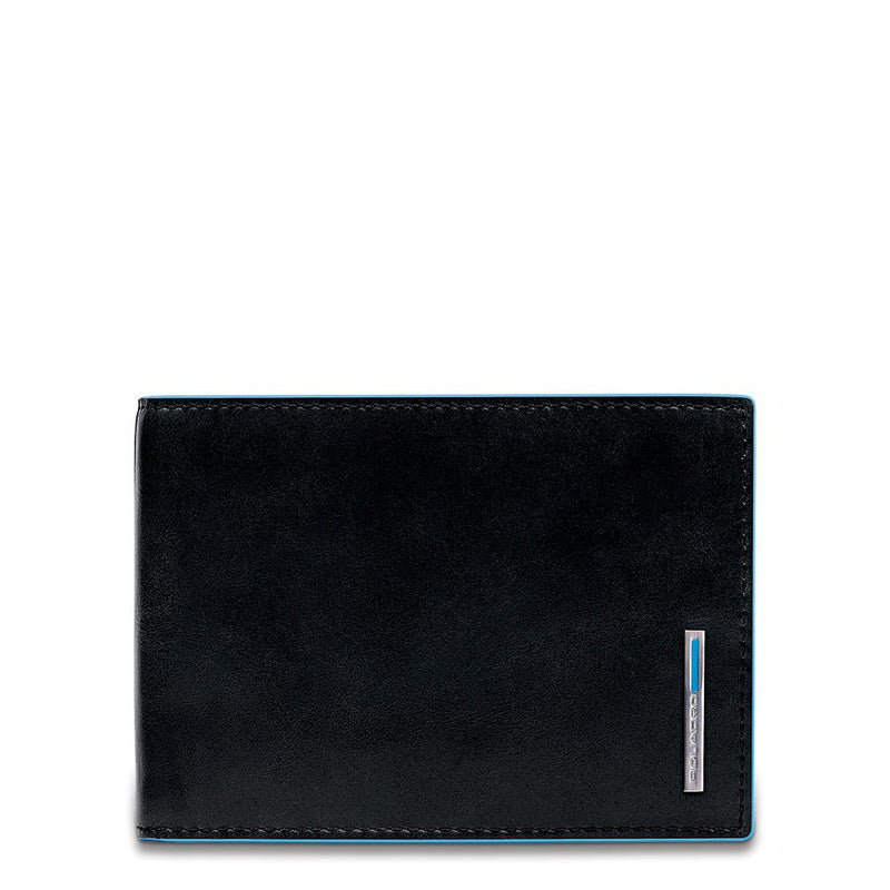 Men's wallet with flip up ID window, coin pocket and credit card slots Blue Square