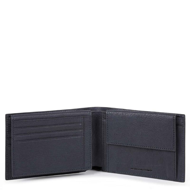 Men's wallet with flip up ID window, coin pocket Black Square