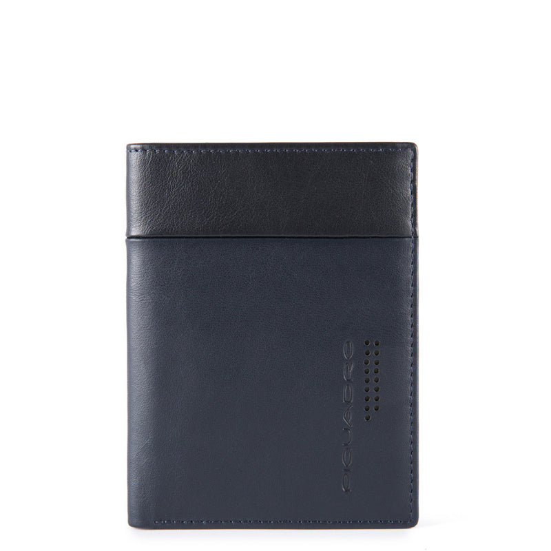 Vertical men's wallet with banknote, credit card and document facility and RFID anti-fraud