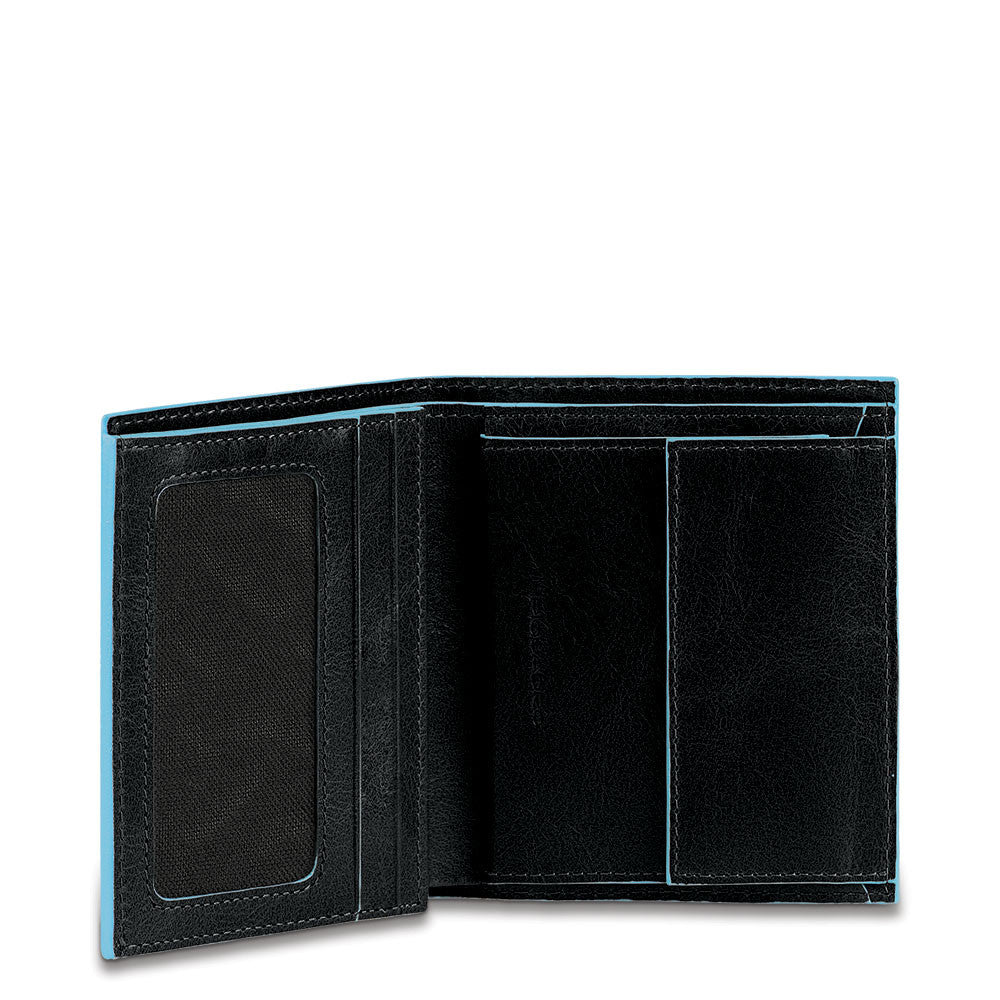 Men's pocket wallet with coin case Blue Square