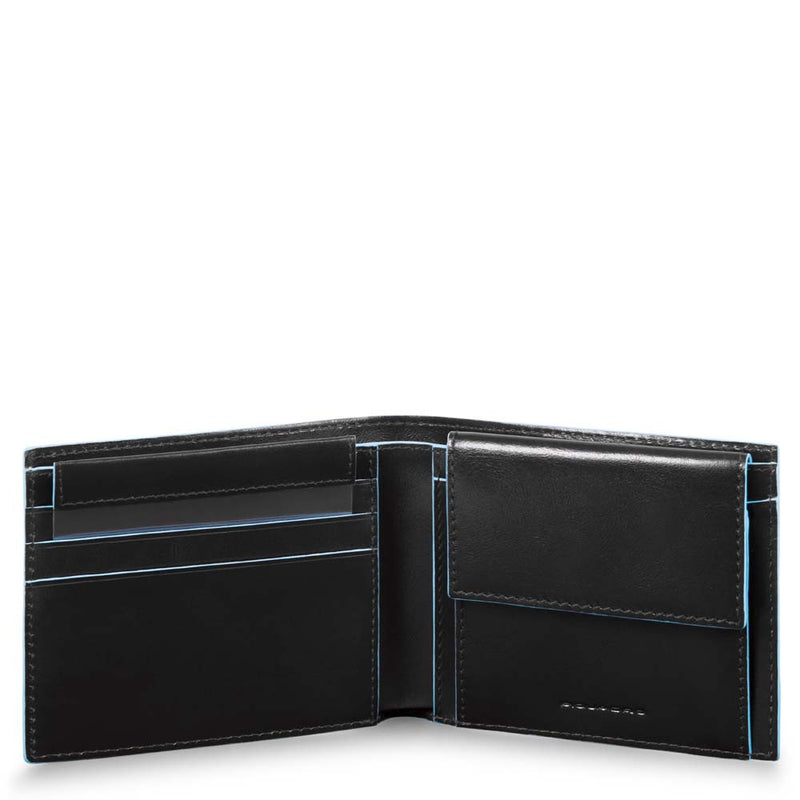Men's wallet with coin case, credit card facility Blue Square