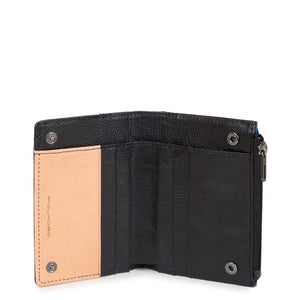Folding coin pouch with banknote compartment and credit card slots Blade