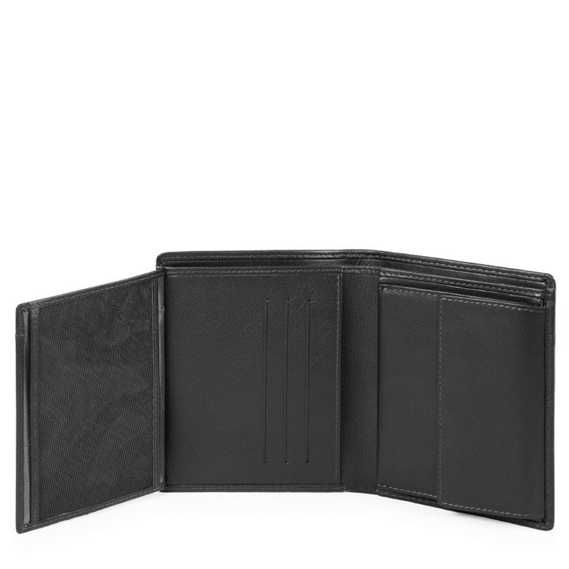 Vertical men's wallet with flip up ID window, coin pocket, credit card slots and RFID anti-fraud