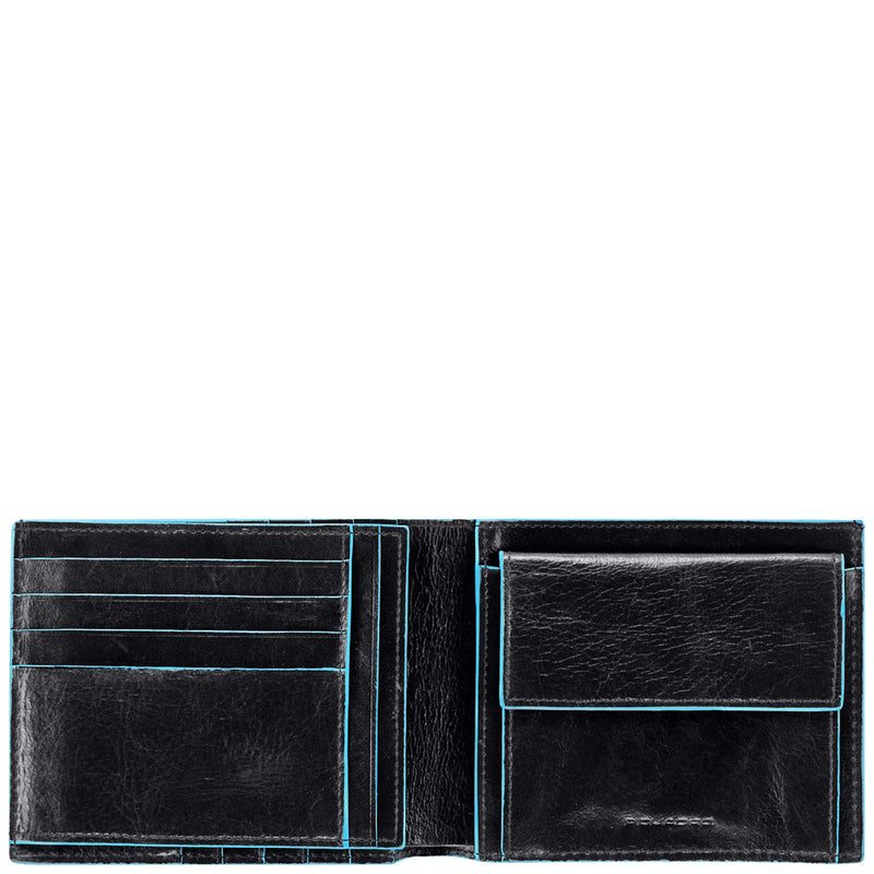 Men's wallet with coin case and document holder Blue Square
