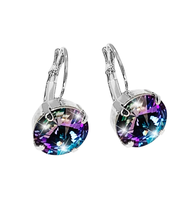 CLASSIC SINGLE DROP EARRINGS SILVER/TURQUOISE BLUE-LILAC