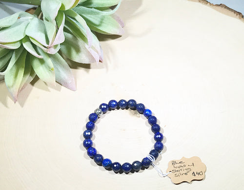 Faceted deep blue Lapis and sterling silver gemstone bracelet