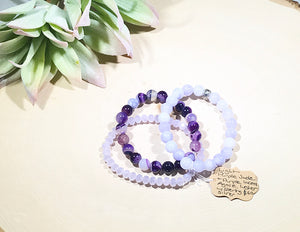 Light purple Jade & purple laced Agate gemstone bracelet with luster beads and a sterling silver accent bead