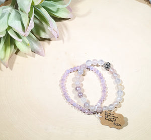 Blush Phantom Quartz and luster bead bracelet set with a sterling silver accent bead.