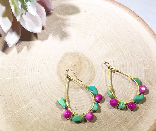 Pink and turquoise wire wrapped gold plated earrings