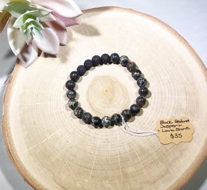 Black Sea sediment Jasper and Lava stone bracelet