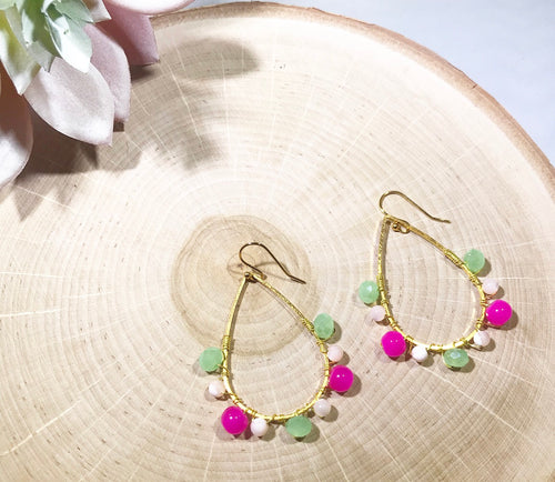 Mixed pink, ivory and green wire wrapped beaded earrings