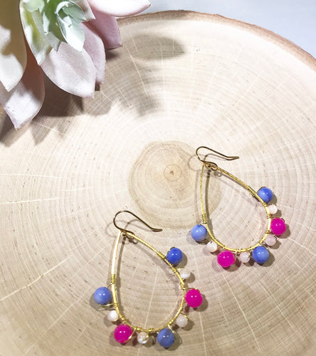 Pink, blue and ivory wire wrapped gold plated earrings