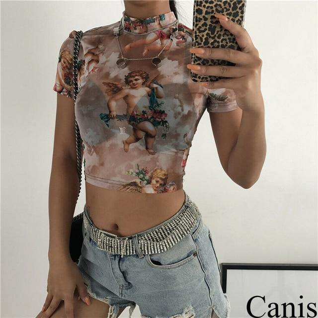 Floral See Through Crop Top Women - Swag Vikings