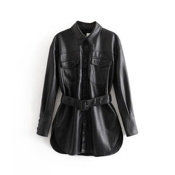 PU Leather Jacket with Belt - Swag Vikings
