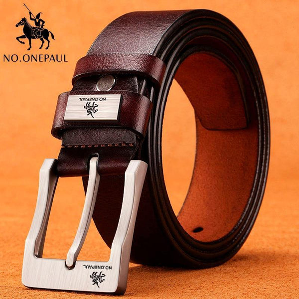 ONEPAUL Cow Genuine Leather Strap Belt - Swag Vikings