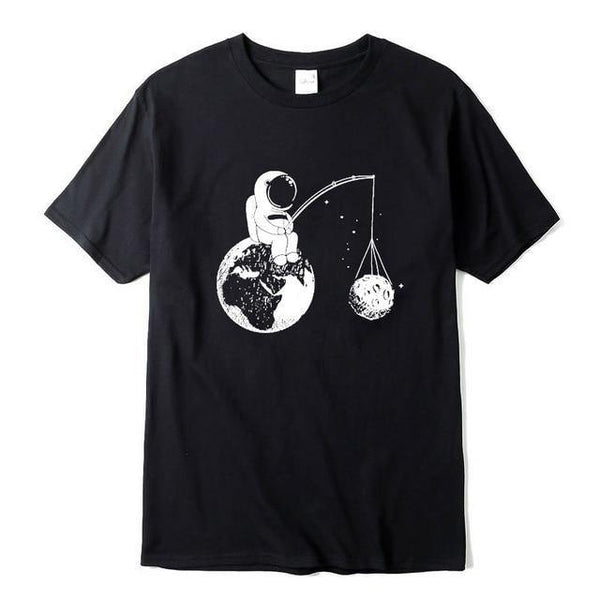 Astronaut Print O-Neck T-Shirt - Swag Vikings