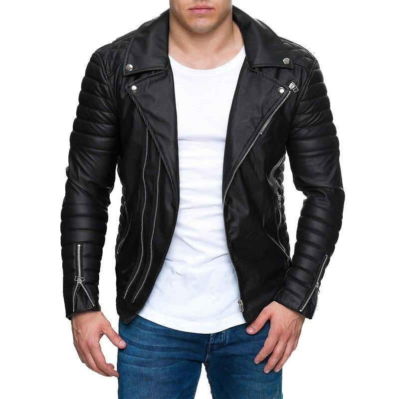 Casual Long Sleeved Leather Jacket - Swag Vikings