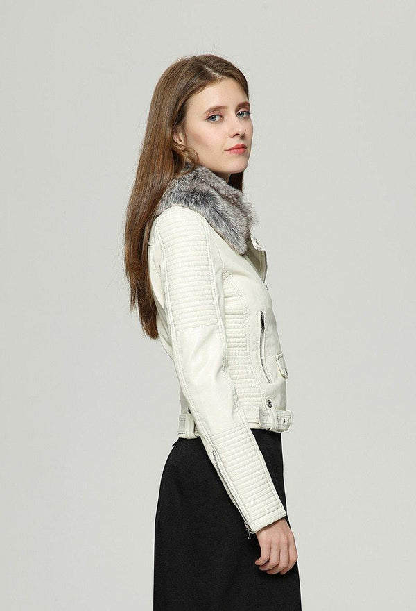 Fashionable Fur Collar Basic Jacket - Swag Vikings