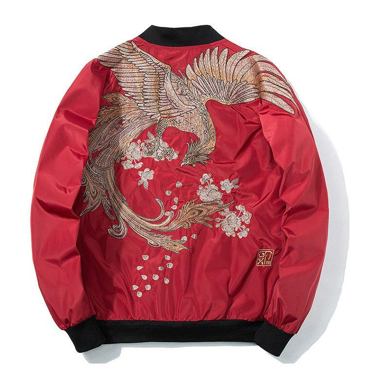Bird Embroidery Baseball Jacket - Swag Vikings
