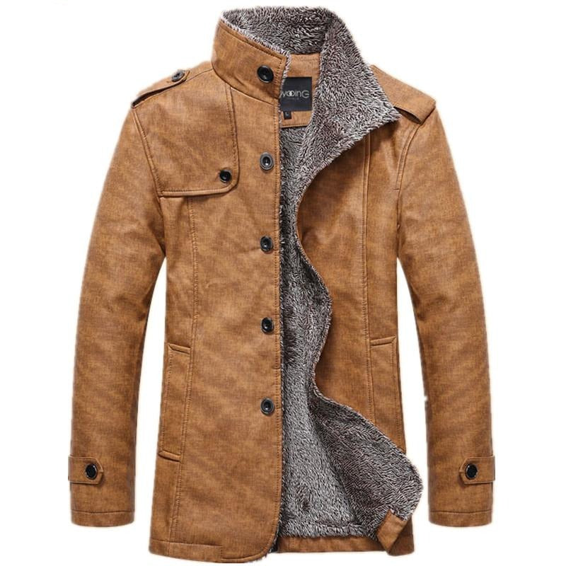 Men's Winter Leather Jacket - Swag Vikings