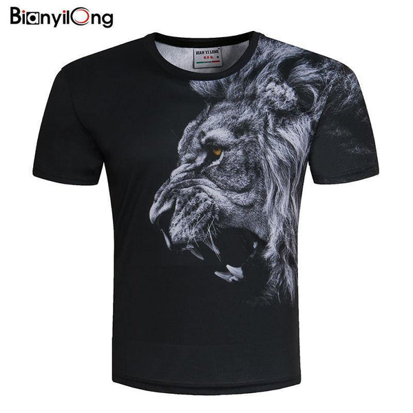 3D Lion Print Black T-Shirt - Swag Vikings