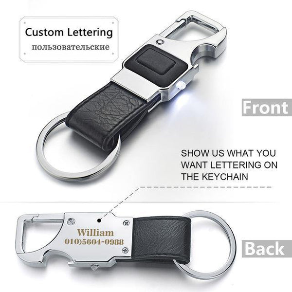 Creative Metal Leather Car Key Ring - Swag Vikings