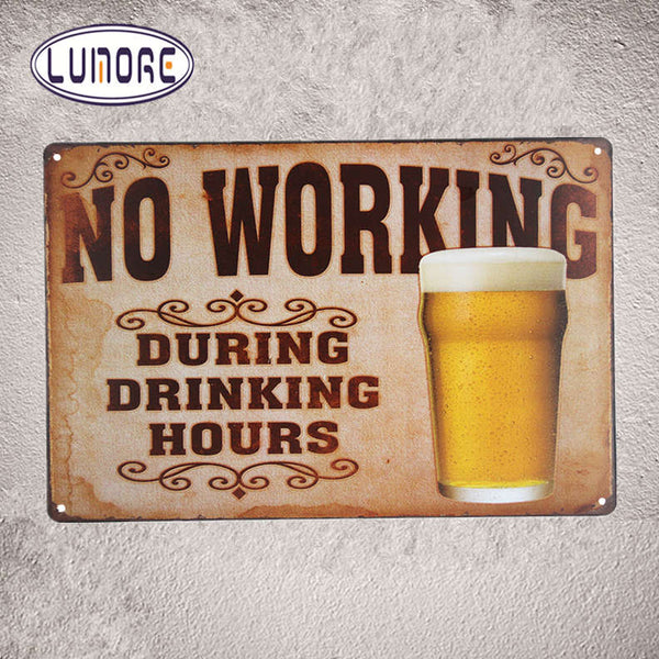 NO working during drinking hours  Tin Sign - Swag Vikings