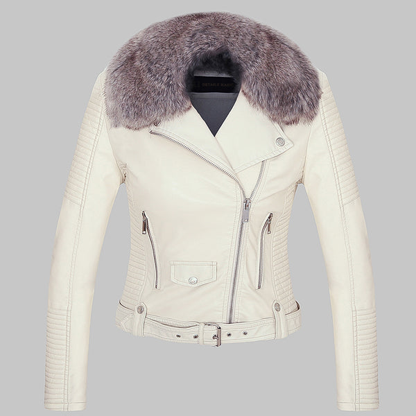 Warm Faux Leather Jackets with Fur Collar - Swag Vikings