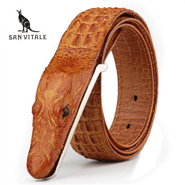 Luxury Leather Belt with Crocodile Head Buckle - Swag Vikings