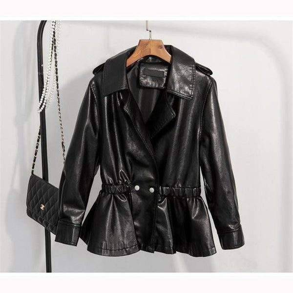 Casual Faux Leather Jacket with Ruffles - Swag Vikings