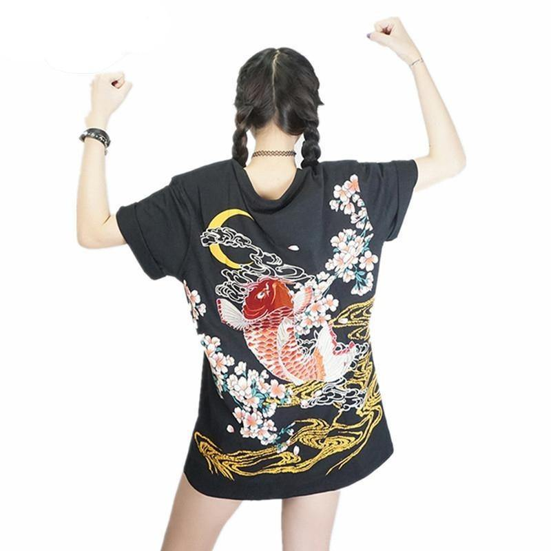 Dragon And Koi Embroidery Vintage T-Shirt - Swag Vikings