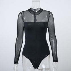 Long Sleeve Sexy Black Mesh Top - Swag Vikings