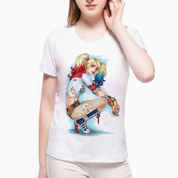 Colourful Harley Quinn Cartoon T-Shirts - Swag Vikings